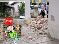 PSD-ul pică! O bună parte din zidul sediului PSD din Beiuș s-a prăbușit (FOTO)