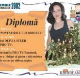 O diplomă specială a primit din partea BIHOREANULUI şi reportera PRO TV OLIVIA STEER: premiul
