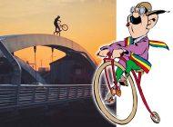 Teribilist pe două roţi: Un orădean s-a dat cu bicicleta pe arcele… Podului Centenarului (VIDEO)